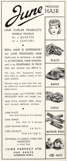 I would have ordered the bangs and curls in a heartbeat! #vintage #hair #ads #1940s