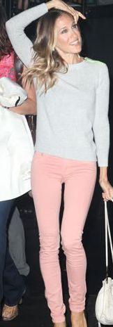 light pink jeans, james jean, jean grey, light pink sweater outfit, colored jeans