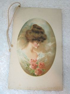 Vintage Bridge Tally Card Cards Beautiful Girl Pink Roses Victorian Woman