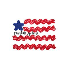 Digital Machine Embroidery Design -  Ribbon Flag Applique