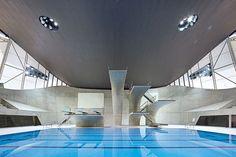 The Olympic Games' Aquatics Centre, designed by Zaha Hadid.