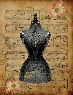 Antique dress form print!