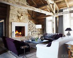 Ski house style fireplace timber beams