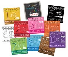 Spanish Flash Cards, flip side English. Learn colors and numbers!