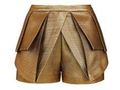 Sass Bide 'The Literary Hero' Pleated Shorts Gold Metallic Origami 36 6 | eBay