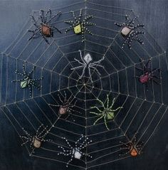 bd bead spider, beaded spider web