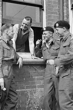 Unidentified personnel of the Calgary Regiment who took part in Operation JUBILEE, the raid on Dieppe, after their return to England, 23 August 1942. #vintage #WW2 #Canada #military #1940s