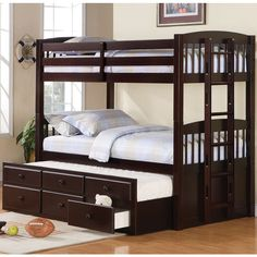 Logan Collection Twin Bunk Bed with Trundle Bed- I think we need this for the hotel that is our house!!