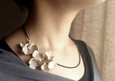 Polymer clay flower necklace - minimal chic