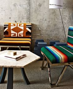 Quirky design touches include modernist chairs upholstered in serape blankets.