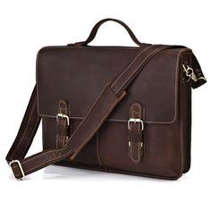 "Vintage Handmade Crazy Horse Leather Briefcase / 15"" MacBook or 14"" Laptop Bag"