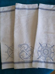 Nautical Kitchen Terry Towels Wedding Gifts by PerfectStitches