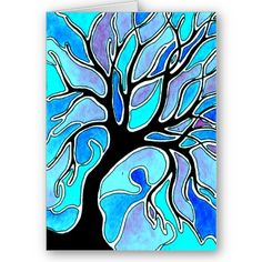 Winter Tree in Blue....black paper white glue. Oil pastels  Looks like stained glass windows