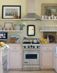 small kitchen designs, open shelves, kitchen shelves, tiny kitchens, small kitchens, range hoods, small spaces, kitchen ideas, open shelving