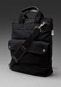 BILLYKIRK Zipper Tote in Black Waxed Cotton/Black Leather at Revolve Clothing - Free Shipping!