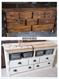 DIY upcycled dresser to cabinet  -- by Ella Claire -- http://www.ellaclaireinspired.com/2013/02/a-diy-refinished-side-table-with-lots.html White Dressers, Refinishing Dressers Diy, Projects, Olivia Dressers, Diy Refinishing Dressers, Diy Upcycling Dressers