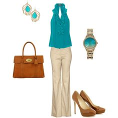 Khaki, Brown, and Turquois, created by jwright412.polyvo...