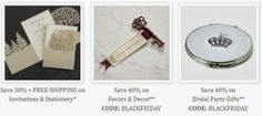 Cyber Monday Wedding Deals End Tonight!  Just a few hours left to save big on wedding invitations, favors and decor.  #wedding #invitations #favors #sale #cyber #monday