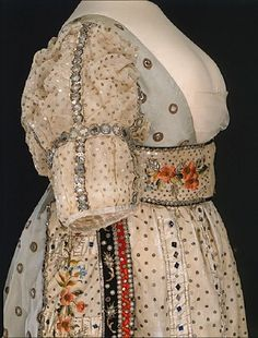 """Swedish court dress, 1809 (i.e. dress worn at court. Official """"Court Dress"""" is black and white)"""