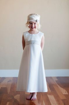 Flower girl dress, First communion dress in high quality satin with pure silk sash on Etsy, $115.00