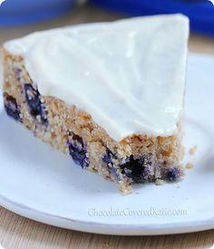 Blueberry Yogurt Cake (with a secretly healthy frosting) http://chocolatecoveredkatie.com/2014/01/10/lemon-blueberry-yogurt-cake/