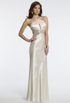 Camille La vie Charmeuse Cleo Halter Prom Dress in Ivory