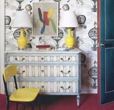 doors, design homes, wallpapers, hous, painted dressers, childs bedroom, hot air balloons, kid room, colorful interiors