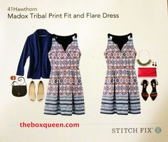 41 Hawthorn Madox Tribal Print Fit and Flare Dress