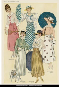 """""""Day and sport dresses, 1917 United States, The Delineator"""""""