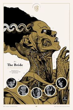 The Bride of Frankenstein by Martin Ansin: Another Universal Monsters licensed poster, for the classic 1935 horror film The Bride of  Frankenstein. Gold, Silver and Black inks with a variant version in Copper and Silver
