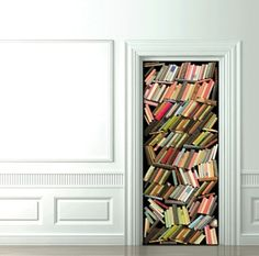 libraries, doors, interior, books, cupboard, book worth, wall decals, couture, tromp loeil