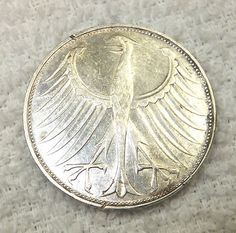 1972 G DEUTSCHE 5 Mark Coin German Silver Money Vintage