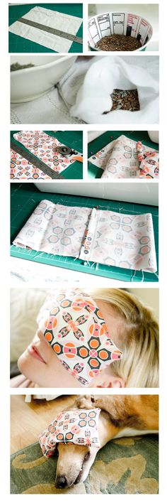 DIY Eye Pillow -- They help to ease any tension around the eyes , allowing the muscles in the face to release more. And with a wonderful lavender scent, the aroma itself is relaxing too. They are so easy to make, and because they are small you could sew them by hand if you don't have a sewing machine. -They also make great gifts.