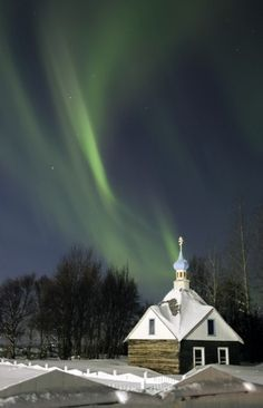 Russian Orthodox Church, Kenai, AK  with Northern Lights.