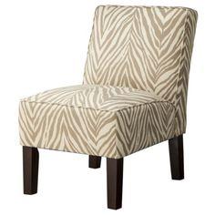 "Burke Armless Slipper Chair - Khaki Zebra  31.5 "" H x 25.13 "" W x 31.13 "" D"
