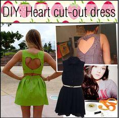 """""""DIY: Heart cut-out dress"""" by strawberryunni ❤ liked on Polyvore dress diy, diy heart, cutout dress, diy fashion, diy dress, crafti cloth, diy sew, cut outs, diy inspir"""