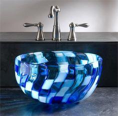 Blue Mosaic Glass Sink from Joseph Pagano