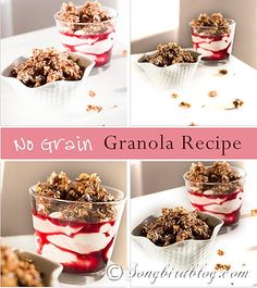 No grain, low carb, Granola recipe via Songbirdblog #nograin #lowcarb #paleo #granola #recipe