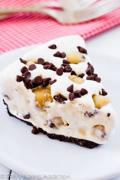 A creamy ice cream pie loaded with homemade chocolate chip cookie dough and mini chocolate chips. I went heavy on the cookie dough, of cours...