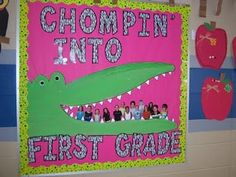 This is a cute and colorful bulletin board display idea to use for Roald Dahl's book The Enormous Crocodile.  Cut out pictures of your students (like in this photo example) and place them inside the Enormous Crocodile's mouth.