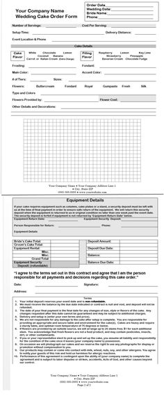 A free template from CakeBoss for creating your own wedding cake contract or order form.