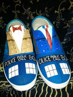 Hand Painted Shoes inspired by Doctor Who for by GallifreyanMarket, $70.00