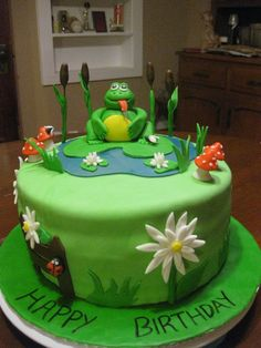 Frog Pond Cake. Everything is edible. The frog and extras are made of ...