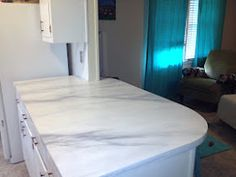 My painted counter tops. Faux white marble kitchen LOVEEEE