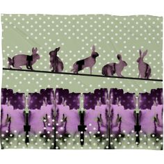 Randi Antonsen Playing Hares In The Snow Fleece Throw Blanket | DENY Designs Home Accessories
