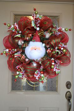 Santa Mesh Wreath via Etsy...I think I would like without the Santa in the center holiday, decor, project, idea, craft, santa mesh, mesh wreaths, santa wreath, christma