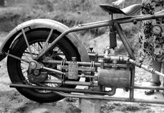 Another view of the steam motorcycle; this photo affords a better view of the boiler.