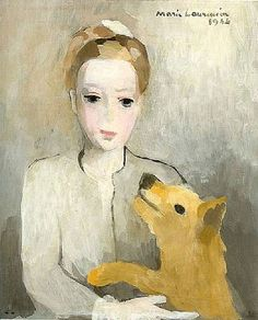 Portrait of a young girl with dog  by Marie Laurencin (1885–1956)