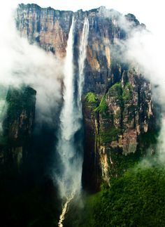 View of the Salto Angel (Venezuela). Angel Falls are the highest falls on earth. They are 979m high, including a 807m free fall.