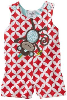 Mud Pie Baby-Boys Newborn Safari Monkey Shortall Set, Red, 2T-3T Arrives on a hanger. Comes in 4 sizes to fit newborn to 3t. Coordinates with the rest of mud pie's safari collection. Great for dressing up or hanging out.. Jungle animals are hanging around on bright, bold patterns in mud pie's safari collection.  #MudPie #Apparel